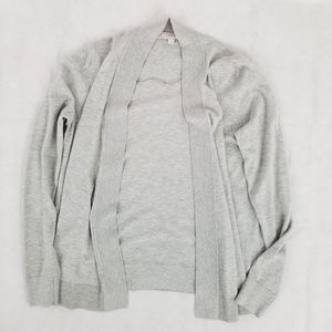 Loft light gray open front cardigan size s